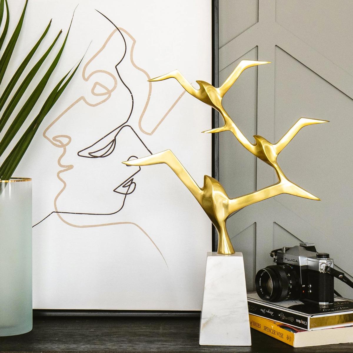 Jean Butterfield Gold & Marble Base Sculpture