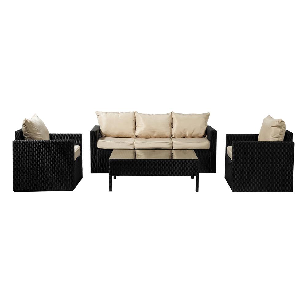 Homeworks 5-Seater Wicker Sofa Set (Black)