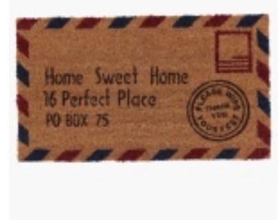 Address Mat 40x70cm  Natural  Red  Blue