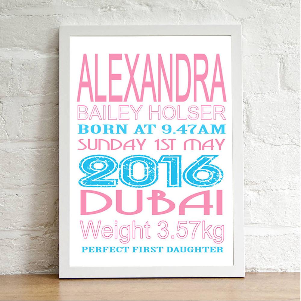 Deco Arabia Personalised Baby Print Girl White Frame