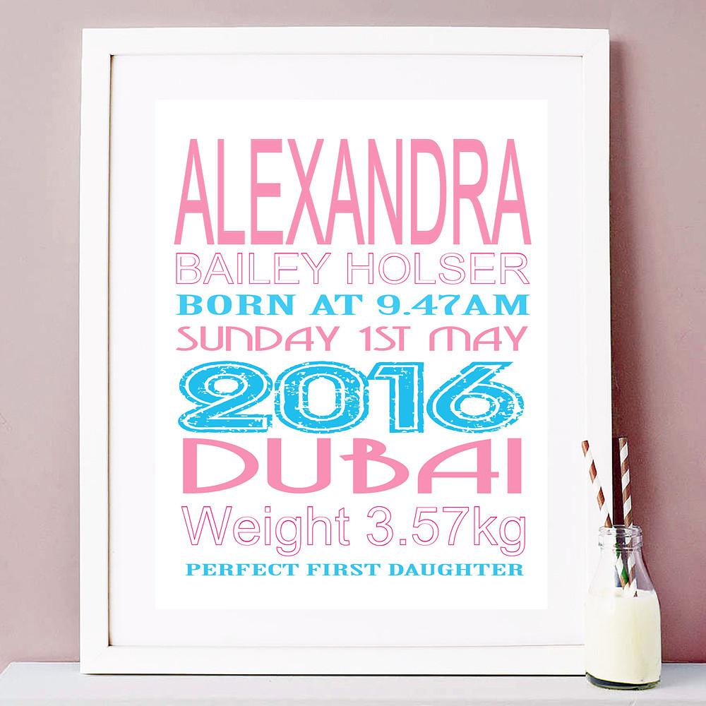 Deco Arabia Personalised Baby Print Girl White Frame w/ mount