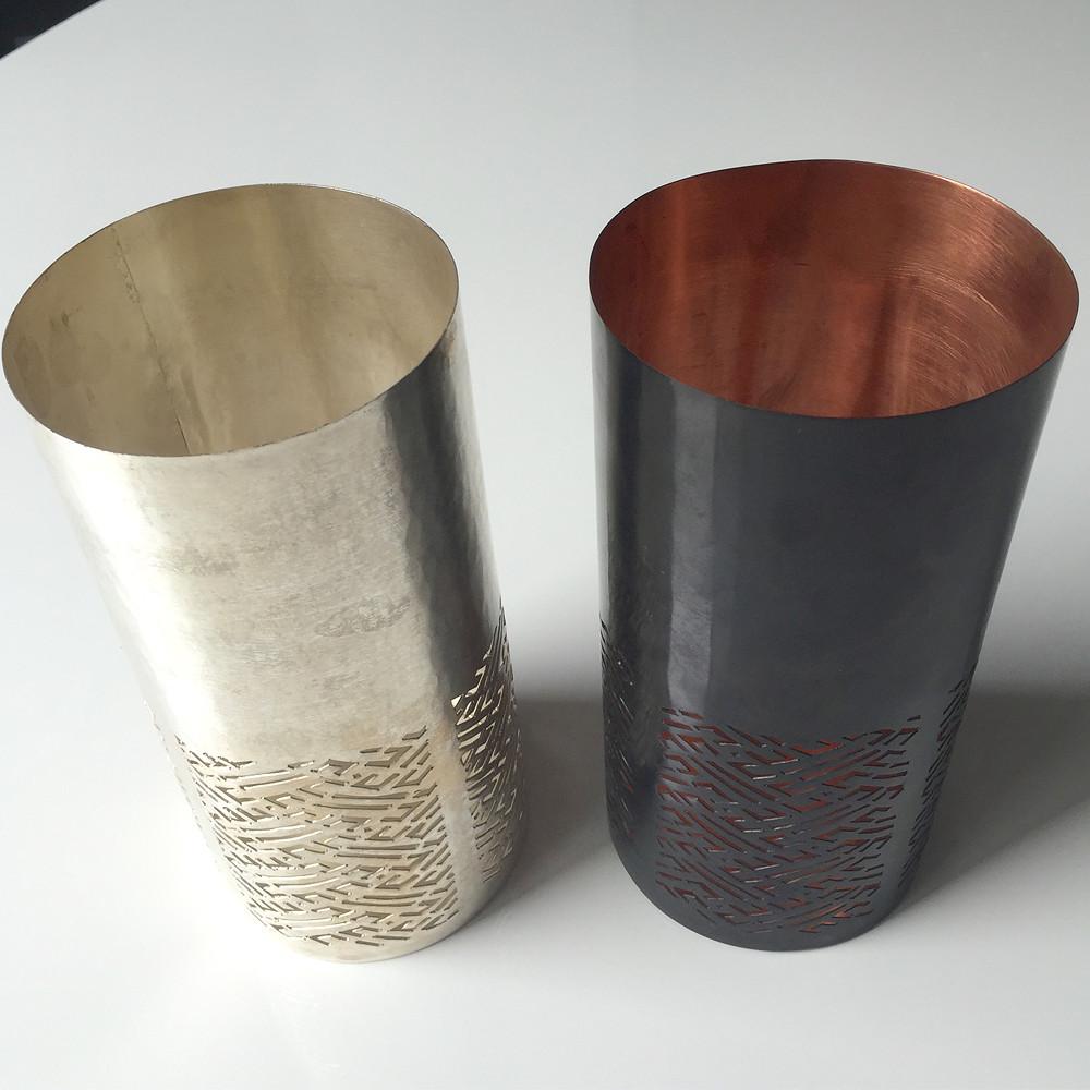 Imprint Candle Holder Silver Geometric L