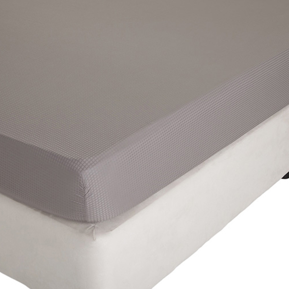 Home Centre Indulgence King Fitted Sheet - 180x210cm Grey