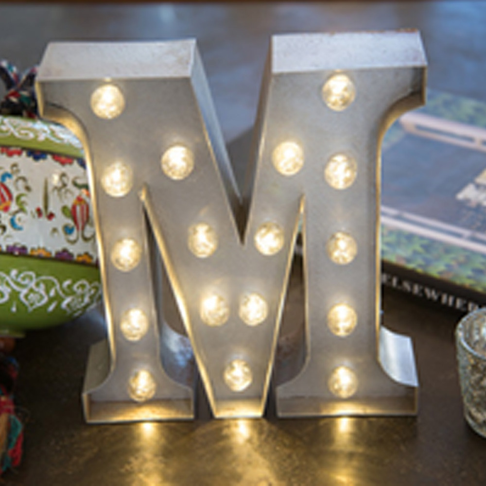 Lights & Letters Silver Rusty M