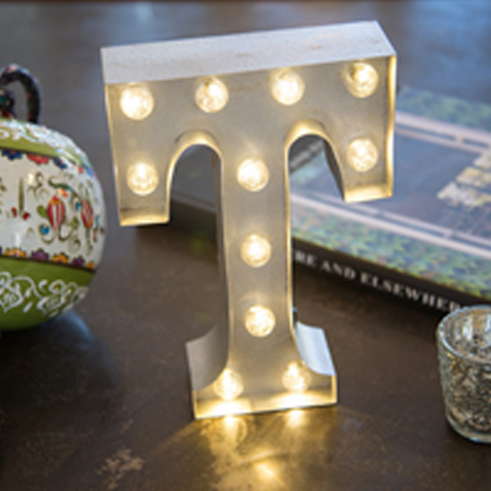 Lights & Letters Silver Rusty T