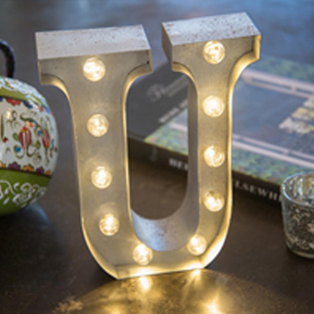 Lights & Letters Silver Rusty U