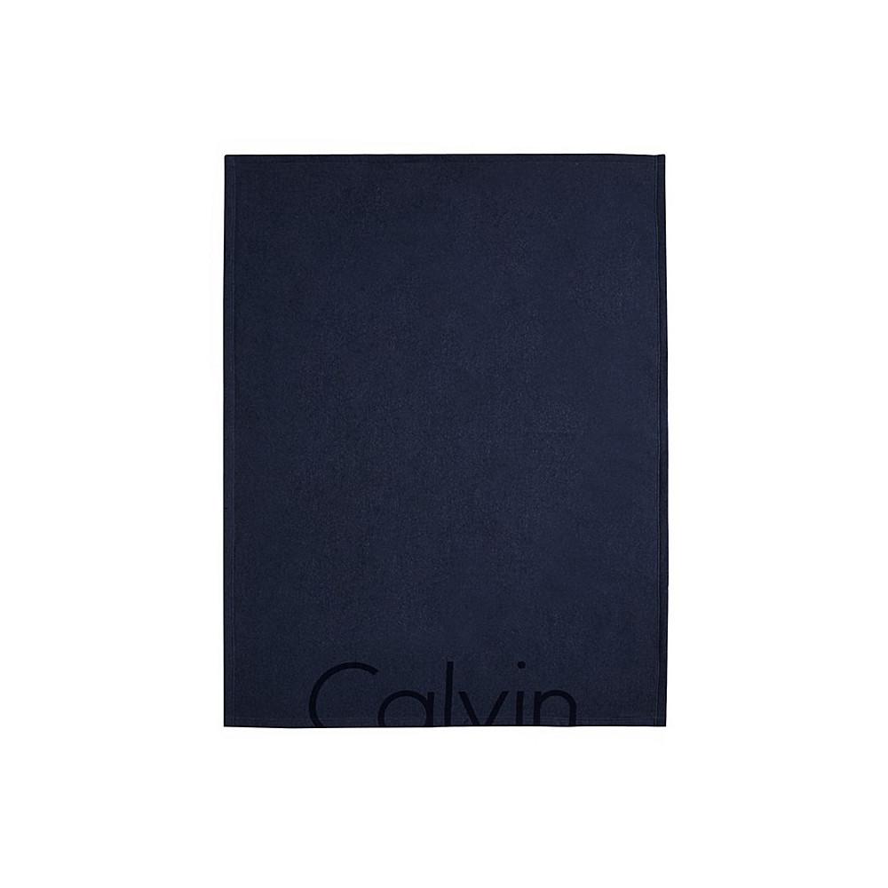 Calvin Klein Throw Indigo 127x178 Modern Cotton Cropped Logo