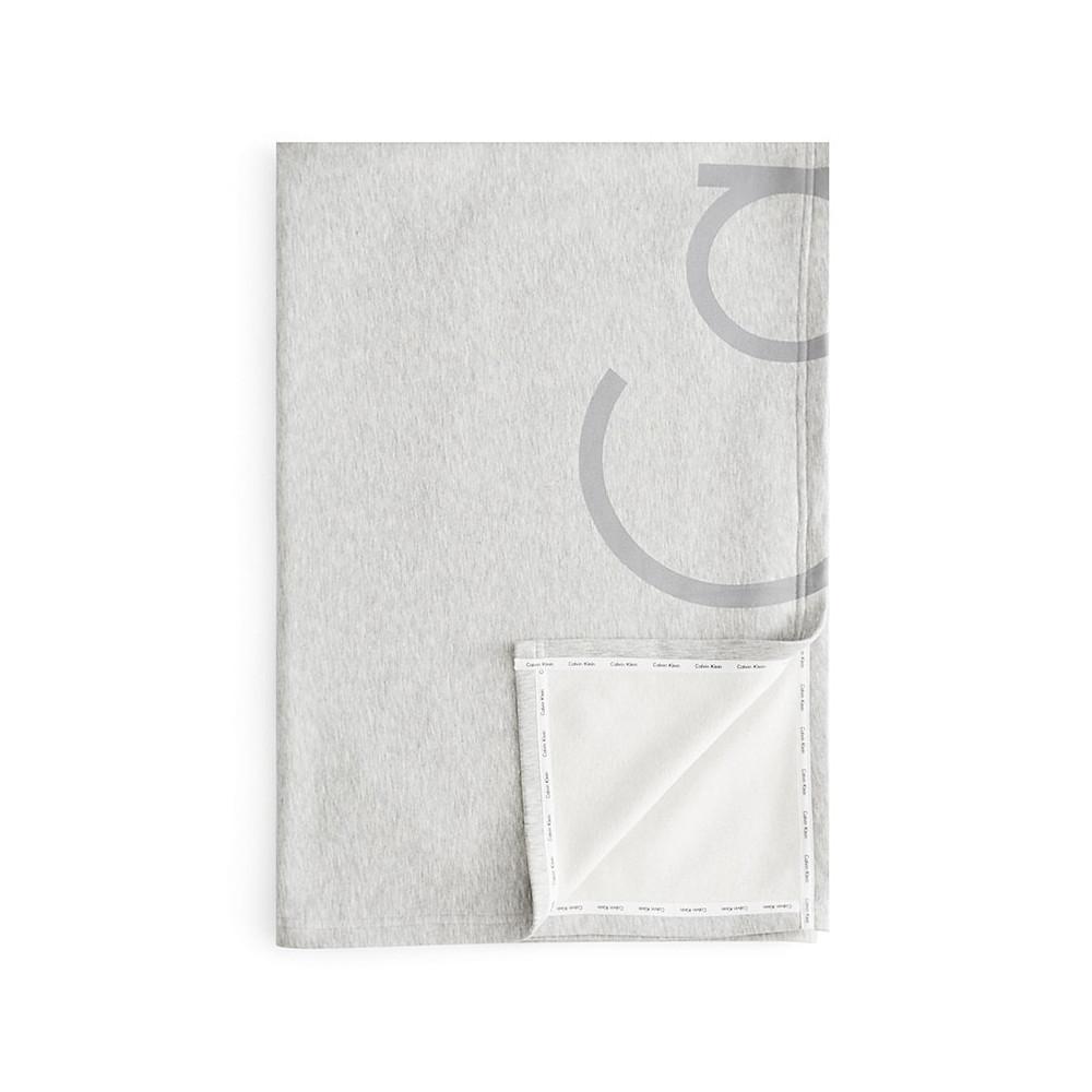 Calvin Klein Throw Grey 127x178 Modern Cotton Cropped Logo