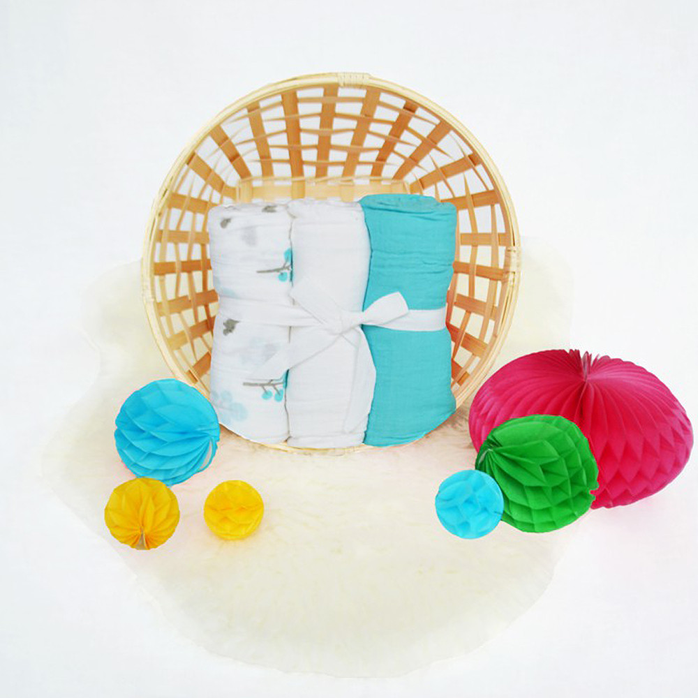JustEssentials Muslin Wrap Pack of 3 White/Turquoise/Hippo
