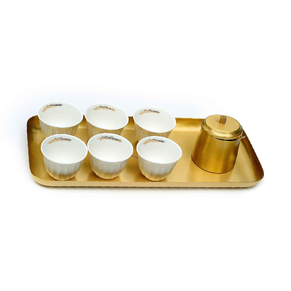 Zarina Tray + Sugar Bowl + Olive Branch Chaffe Cups - Set of 6