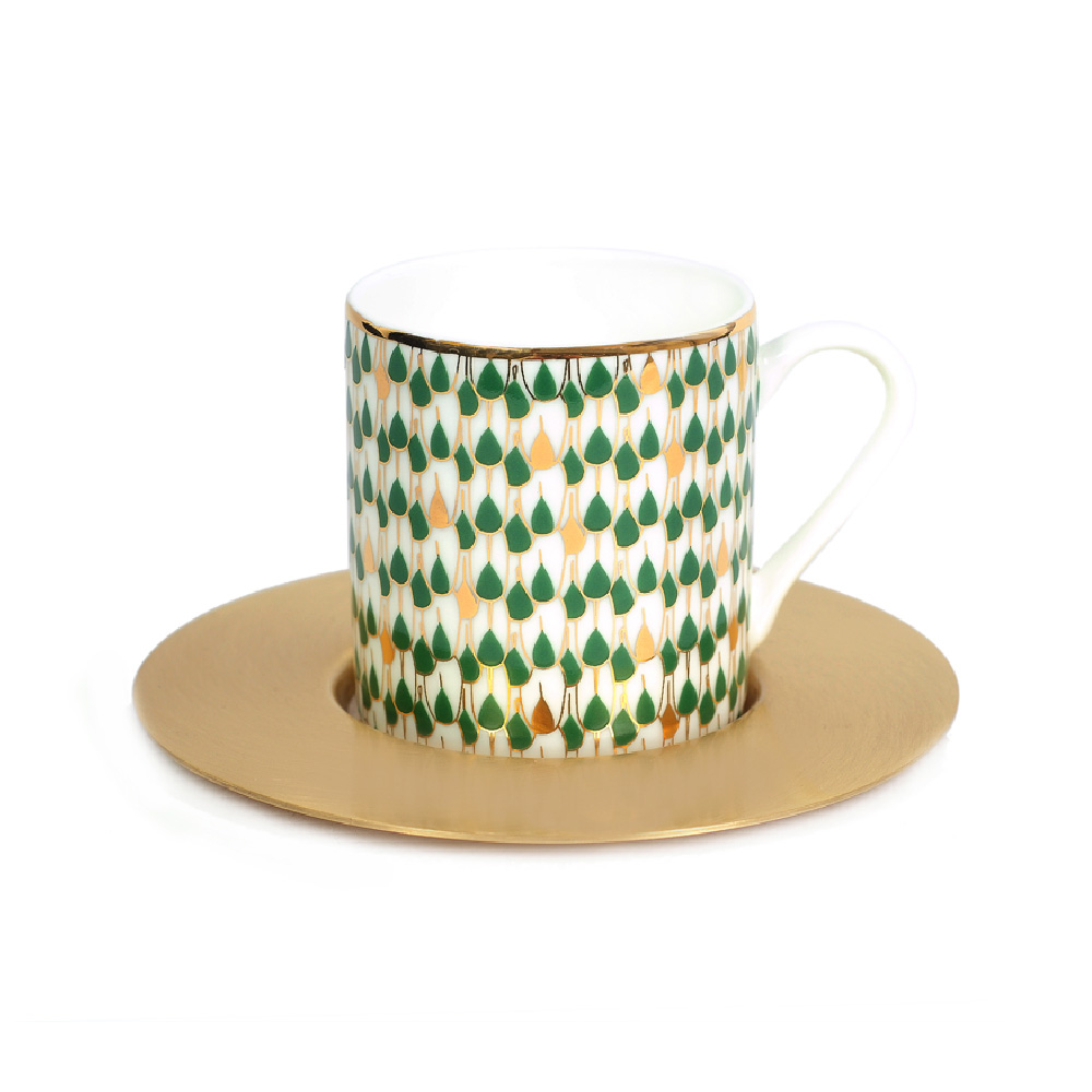 Zarina Swirl Green Espresso Cup & Saucer - Set of 6