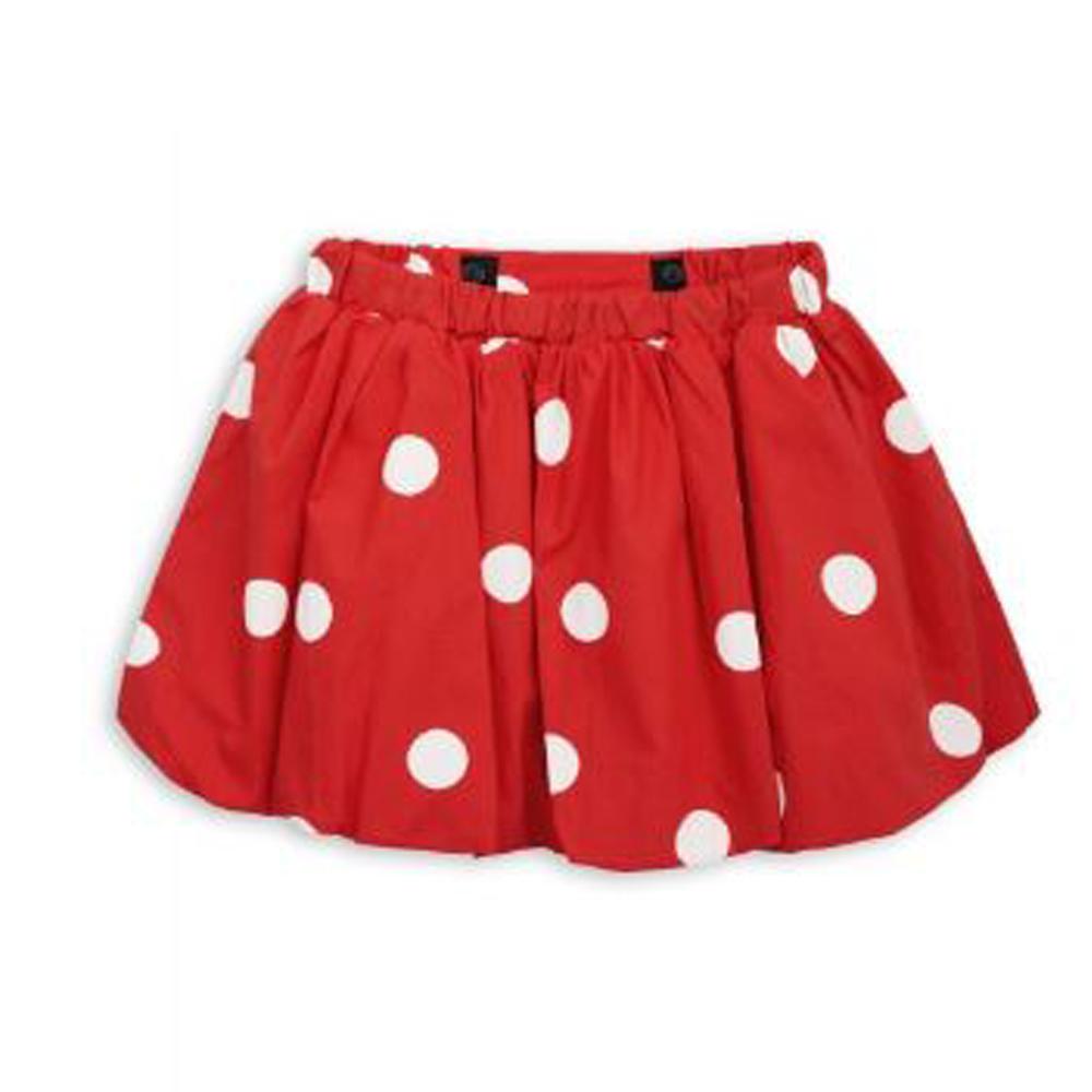 Dot woven skirt red