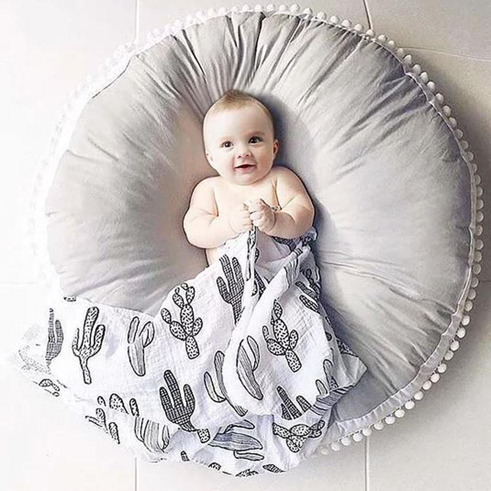 Stunning Grey & White Circular Floor Cushion with Pom-Poms