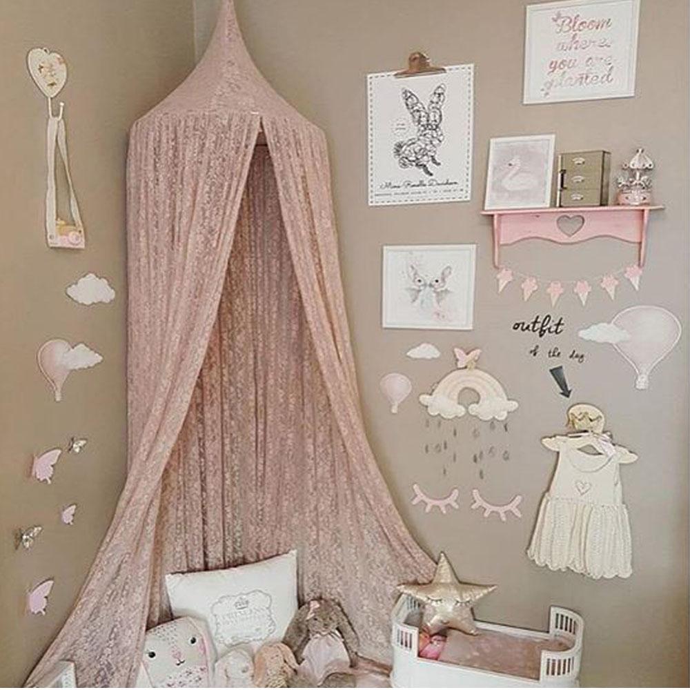 Boho Pink Lace Hanging Canopy