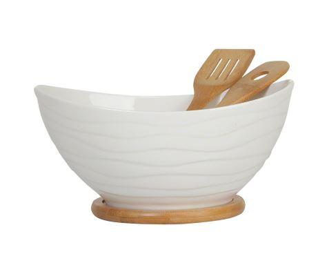 Mojo Salad Bowl on Bamboo Base  With 2 Bamboo Servers - White