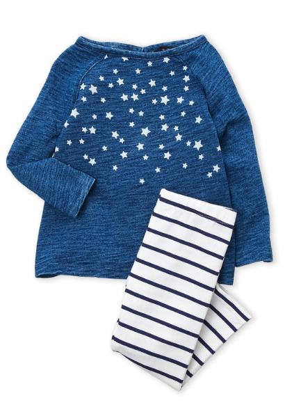 2-Piece Star Long Sleeve Top & Striped Leggings Set