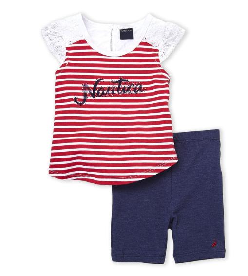 2-Piece Stripe Lace Trim Top & Bike Shorts