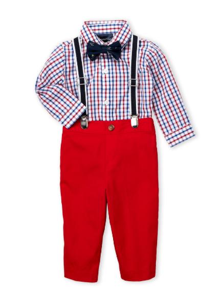 4 Piece Check Bodysuit & Pants Set - Red