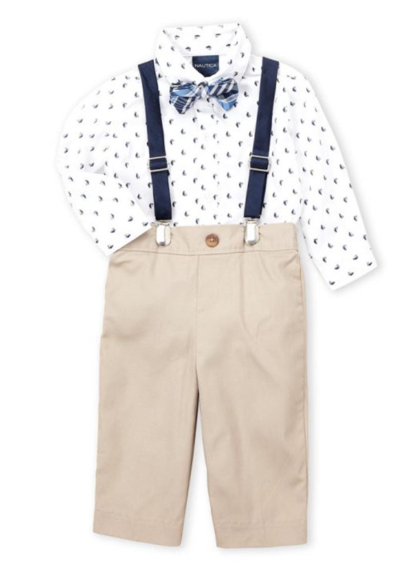 4-Piece Sailboat Bodysuit & Khaki Pants Set