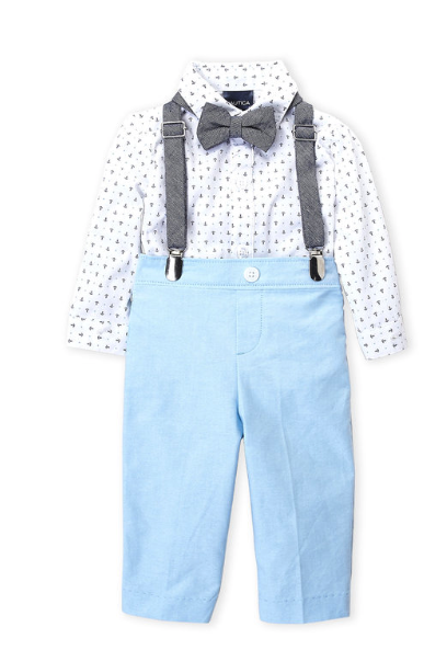 4-piece Anchor Bodysuit & Tapered Pants Set - Blue