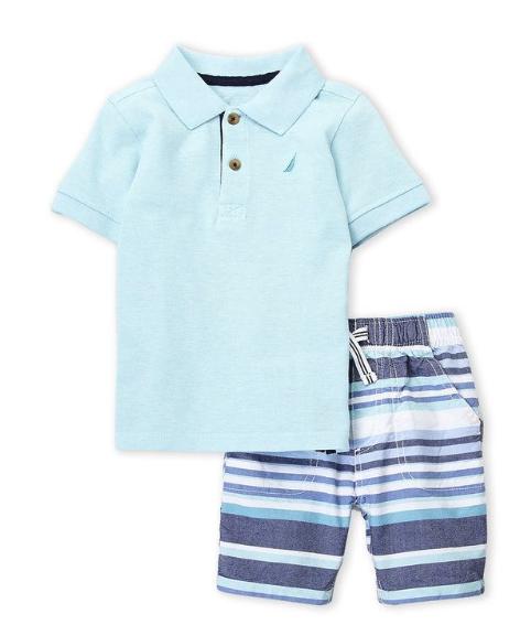 Two-Piece Polo & Stripe Shorts Set