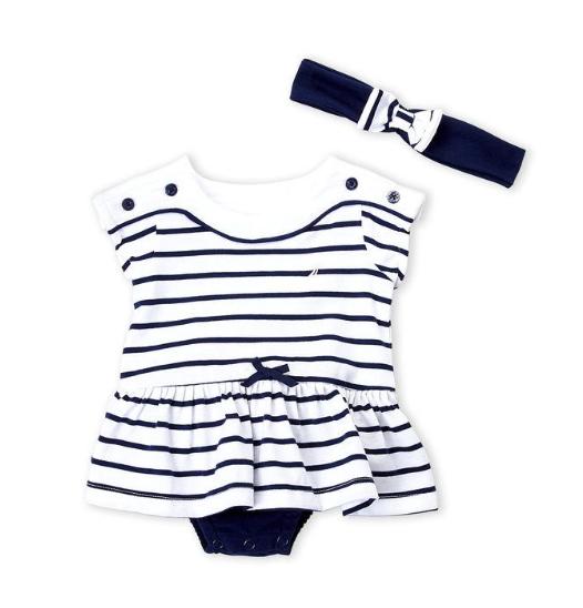 Two-Piece Stripe Skirted Bodysuit & Headband Set