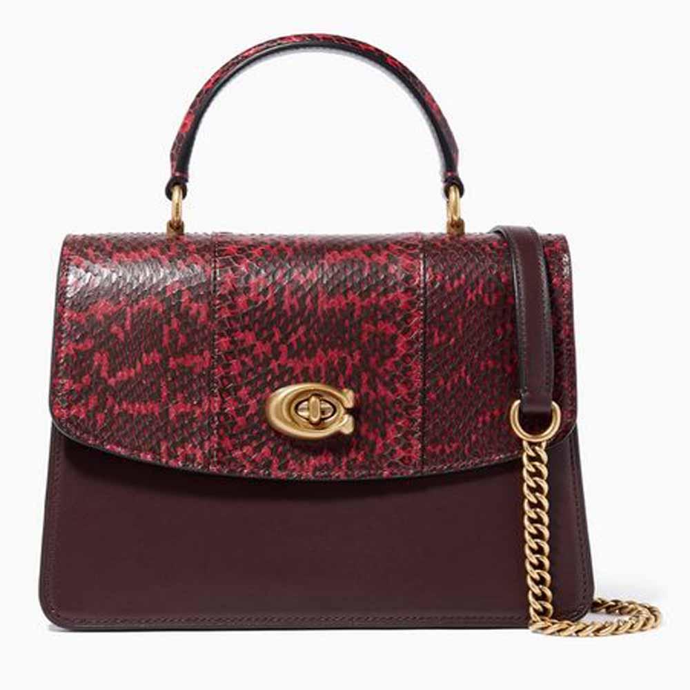 Parker Snakeskin & Leather Top Handle Bag